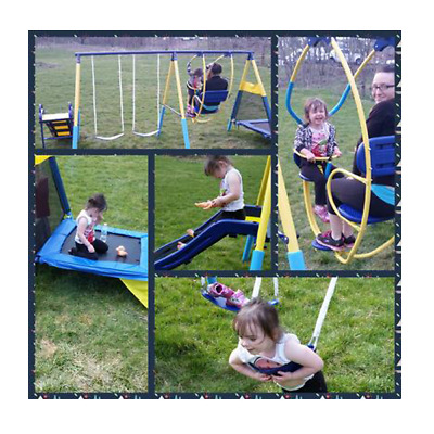 Swing Set Slide Trampoline Playground Backyard Metal Toddler Kids