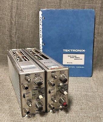 2 Tektronix 7A18 Dual Trace Amplifier Oscilloscope Plug Ins With Factory Manual