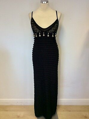 Save The Queen Black Tiered Mesh & Silver Metal Trim Stretch Long Dress Size S