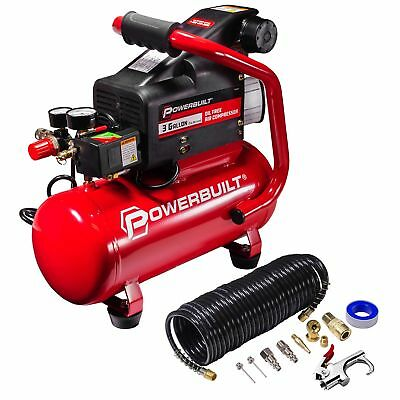 Powerbuilt 3 Gallon Heavy Duty Oil Free Style Air Compressor Kit - 240039