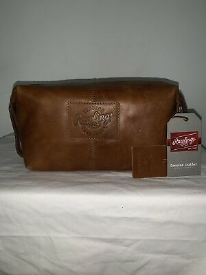 661da16d2a3 RAWLINGS RUGGED LEATHER Travel SHAVE Kit - Cognac Toiletry Kit NEW w ...