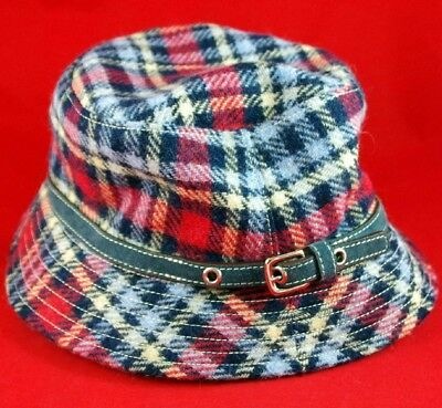 5776428cd7313 VTG COACH BRAND RED NAVY PLAID WOOL BUCKET RAIN HAT w LEATHER   SIGNATURE  LINING