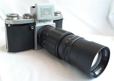 Praktica FX with Unusual Promura f 200mm  Lens