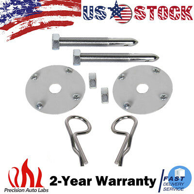 Brand New Universal Racing Sport Hair Pin Style Chrome Hood Pin Locking Kit