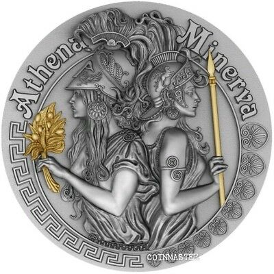 2019 $5 Niue ATHENA AND MINERVA Strong and Beautiful Goddesses 2 Oz Silver Coin.