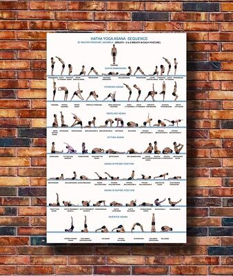 New Yoga Exercise Bodybuilding Chart Poster -14x21 24x36 Art Gift X-3393