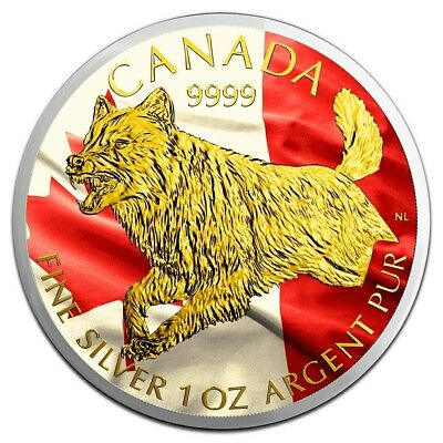 2018 1 Oz Silver $5 Canadian Flag WOLF Predator Coin WITH 24K GOLD GILDED.