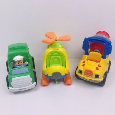 FISHER PRICE Little People HELICOPTER Garbage Truck And Cement Trucks Vehicles
