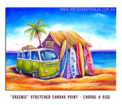 DEBORAH BROUGHTON ART Stretched Canvas Greenie Surf Kombi Print: Choose a size