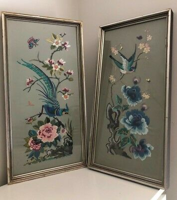 Two Vintage Hand Embroidered Birds & Flowers Framed Pictures
