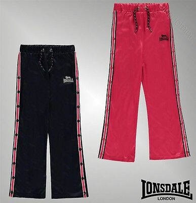 Girls Lonsdale Vertical Stripe Adorned Buttons Track Pop Pants Sizes 7-13