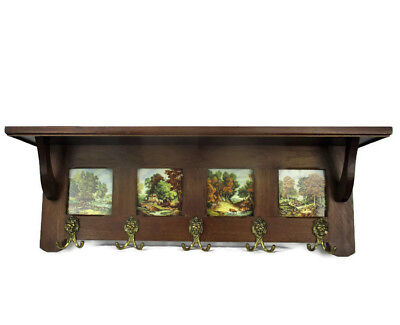 Gorgeous  Wood Coat Hat Kitchen Hallway Rack  Ornate Lion Heads Landscapes