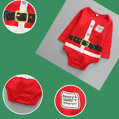 Xmas Kids Baby Boy Girl Long Sleeve Romper Jumpsuit Outfits Soft Triangle