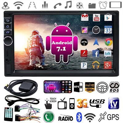 "7"" Double 2Din Quad Core Android7.1 Car MP5 Player Radio Stereo GPS Nav WIFI UCW"