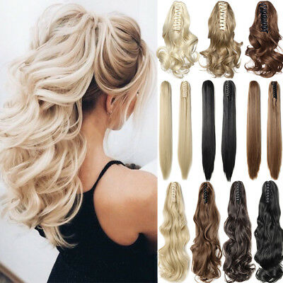 """100% Real Thick Claw Clip On Ponytail 18-26"""" Long Soft As Human Hair Piece Mix C"""