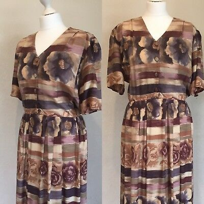 True Vintage Retro Floral Dress Late 80's/early 90's