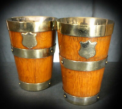 SUPERB PAIR of 19th. CENTURY SILVER PLATE ON OAK ALE BEAKERS