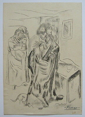 Unique handmade drawing painting signed PICASSO.