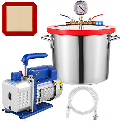 2 Gallon Vacuum Chamber Degassing Silicone Tool 3CFM 1 Stage Vacuum Pump 54L/min