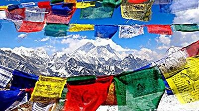 Handmade in Nepal Tibetan Prayer Flag Buddhist Flags Traditional 5 Element Color