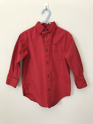 01784394538e Boys Red Button Front Oxford Dress Shirt Collared Class club Cotton Size 4