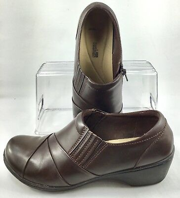 3117a5a3409 Clarks Channing Essa Loafers Womens Size 8 M Brown Leather Zip Stretch Gore  Shoe