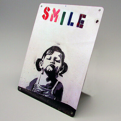 BANKSY SMILE Metal Sign GIRL Photo Poster Print GRAFFITI WALL ART Happy