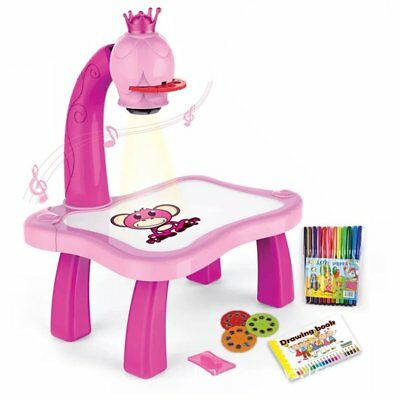 Learning Desk With Smart Projector Kids Painting Table Toy With Light Music L3