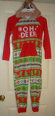 JUSTICE~girl's~CHRISTMAS/REINDEER/ONE/Pc/SLEEPER! (6/7) BRAND/NEW!  REALLY/CUTE!