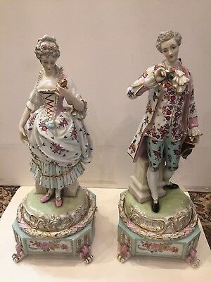 """Pair Dresden Antique Germany Porcelain Meissen Quality Figures 19"""" Tall ca. 1880"""