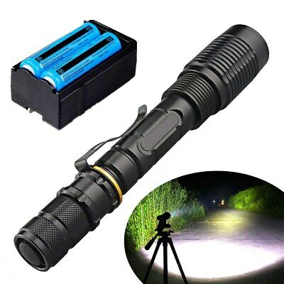 US Super Bright 200000LM LED Flashlight Tactical T6 18650 Torch+Battery Charger