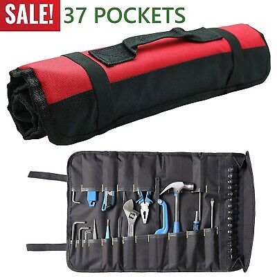Roll Up Tool Pouch Canvas Wrench Socket Bag Hand Tool Slot Organizer 22 Pocket