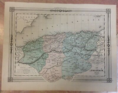 ALGERIA by CHARLE XIXe CENTURY DECORATIVE COPPER ENGRAVED MAP