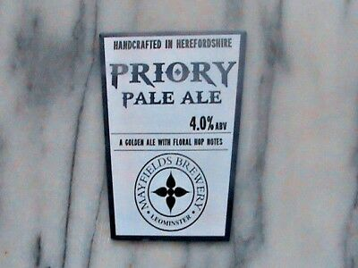 Mayfields Priory Pale Ale real ale beer pump clip sign