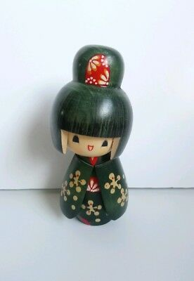 Japanese Wooden Kokeshi Doll Vintage Green Hand Painted Signed Original Red