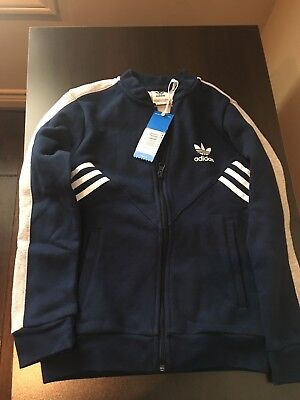 981e63370504 NWT Adidas Boys Fleece SST Track Jacket Navy Size 9-10
