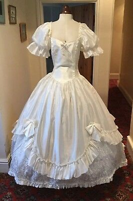 93c44368b4 VINTAGE 1980 s VICTORIAN  CINDERELLA  STYLE IVORY WEDDING DRESS BY RONALD  JOYCE