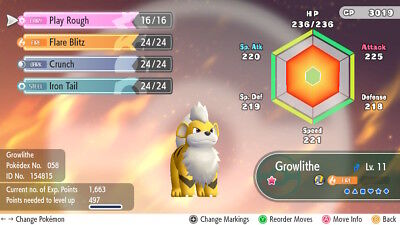 Pokemon Let's Go Pikachu & Eevee - Shiny Growlithe 6iv