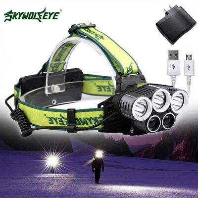 80000lm 5X T6 LED Rechargeable Usb Headlamp Light Lamp+2*18650Battery+Charger