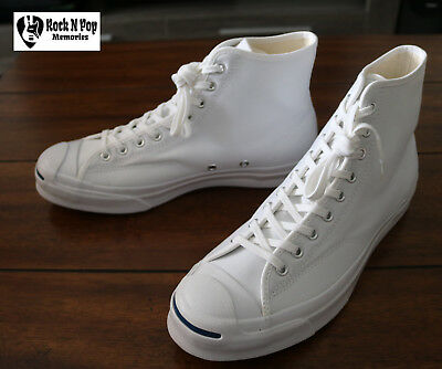 eeca9817073e Converse Jack Purcell Signature White High Top Men s Canvas SZ 10 Unisex W  11.5