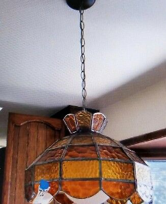 Vintage Hanging Leaded Stained Slag Glass Mission Style Swag Lamp.