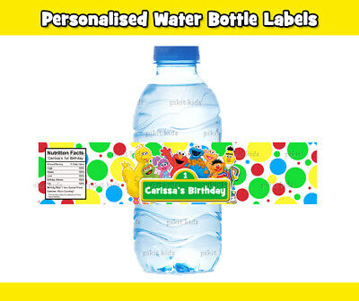12x SESAME ST STREET WATER BOTTLE LABELS  ELMO BIG BIRD COOKIE MONSTER PARTY BAG
