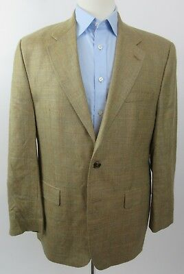 RALPH LAUREN Linen Silk Lambs Wool Blazer Sport Coat, Tan Beige Windowpane