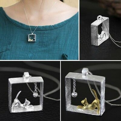 Cat Square Locket Pendant Silver Plated Ball Bead Necklace Chain Jewelry Gift