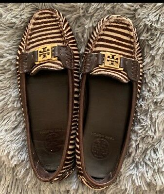 2a73b7daf TORY BURCH Moccasin Driving loafer Pony Calf hair with gold hrdware Size 6.5