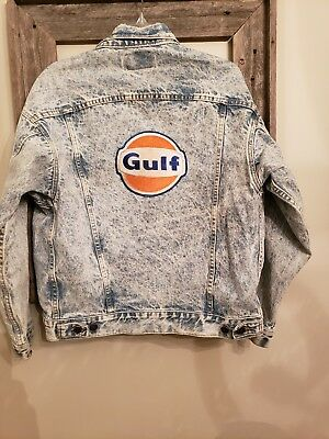 Awesome Vintage USA Made Levi's Denim Jacket With GULF Gas Backpatch mens Med
