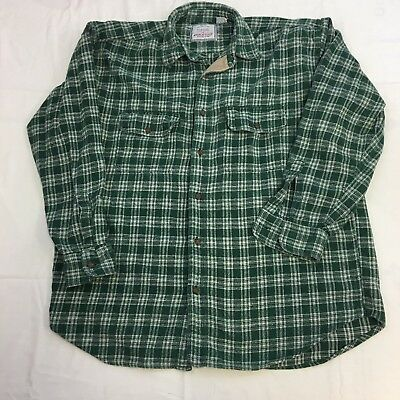 Vintage Men's American Eagle Outfitters Green White Plaid Flannel Shirt Size L