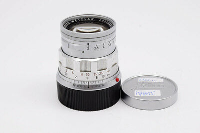 Ex+ Leica Summicron-M 50MM F/2 E39 RIGID Silver W/Caps