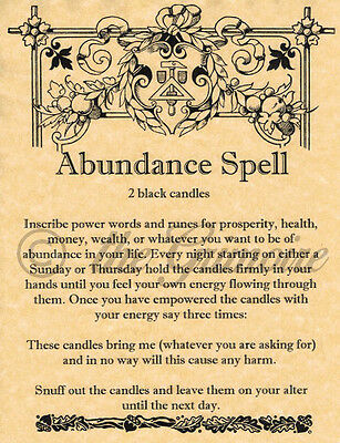 ABUNDANCE SPELL Book of Shadows Page, Wicca, Witchcraft, BOS