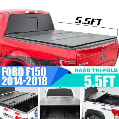 Fit 14-18 Ford F-150 5.5' Trunk Short Bed Frp Hard Solid Tri-Fold Tonneau Cover